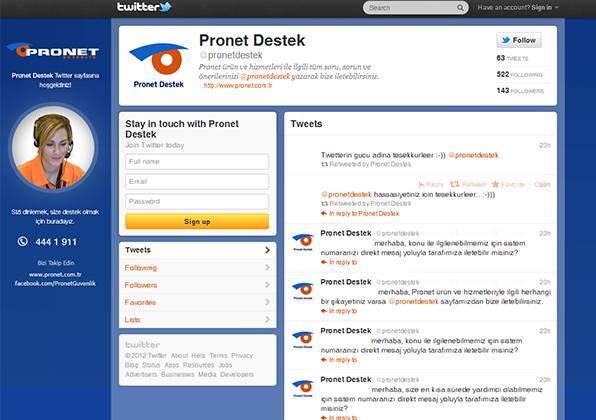 Pronet Güvenlik, abonelerini artık Twitter'dan dinliyor